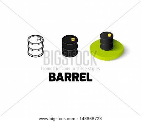 Barrel icon, vector symbol in flat, outline and isometric style