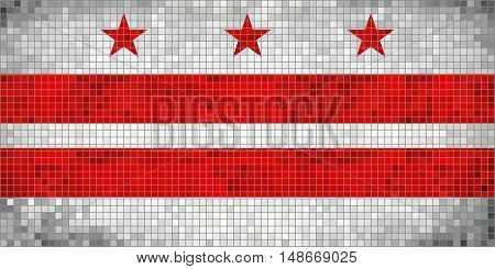 Abstract Mosaic flag of Washington, D.C. - illustration,  The flag of the state of Washington District of Columbia,  Washington D.C. grunge mosaic flag