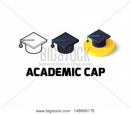 Academic cap icon, vector symbol in flat, outline and isometric style
