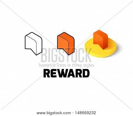 Reward icon, vector symbol in flat, outline and isometric style