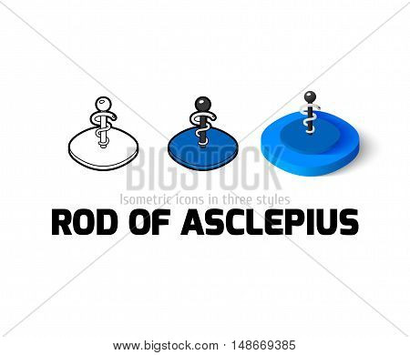 Rod of Asclepius icon, vector symbol in flat, outline and isometric style