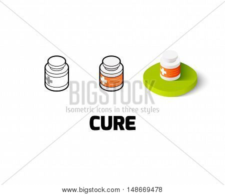 Cure icon, vector symbol in flat, outline and isometric style