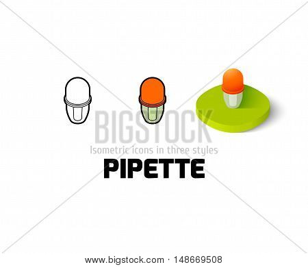 Pipette icon, vector symbol in flat, outline and isometric style