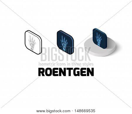 Roentgen icon, vector symbol in flat, outline and isometric style
