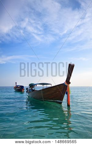 Boat in Libe island neer Railay beach Krabi Phuket in Thailand
