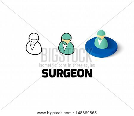 Surgeon icon, vector symbol in flat, outline and isometric style