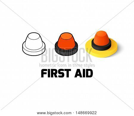 First aid icon, vector symbol in flat, outline and isometric style