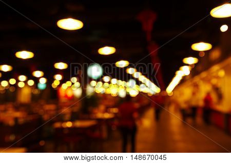 blur row light lamp in shop and bar the city at night background