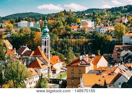 Cityscape of Cesky Krumlov, Czech republic. Sunny autumn day. UNESCO World Heritage Site