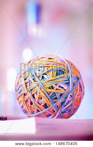 Rubber bands in ball