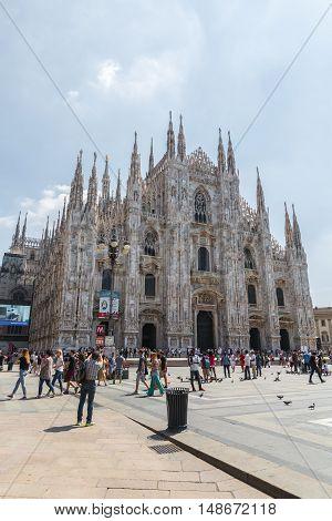 MILAN ITALY - AUGUST 03 2016 : View of Milan Cathedral - Duomo di Milan on August 03 2016.