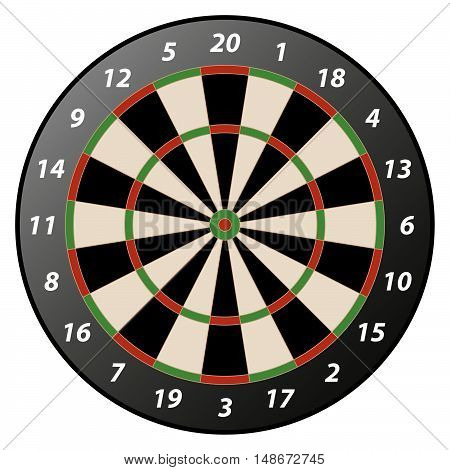 illustration of high detailed isolated dartboard with reflection