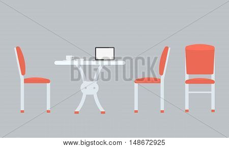 Table with chairs icon. Chairs with front and side view. Cup of coffee and notebook on table. Illustrated vector with flat color style. Isolated with solid color background.