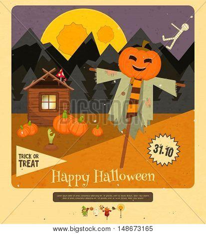 Halloween - Scarecrow Pumpkins and The Hut. Mountain Night Moon Landscape. Retro style. Vector illustration.