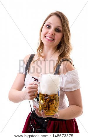 Blonde girl in traditional bavarian costume on white background
