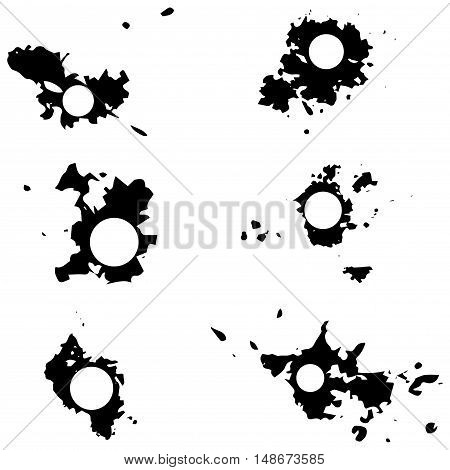 Black Vector Blots With Space For Inscriptions. Seth Blots On A White Background. Design Element