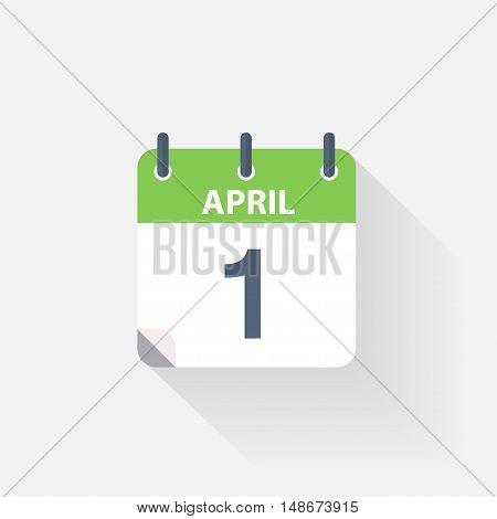 1 april calendar icon on grey background