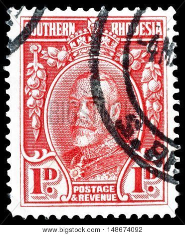 SOUTHERN RHODESIA - CIRCA 1933 : Cancelled postage stamps printed by Southern Rhodesia, that shows King George.