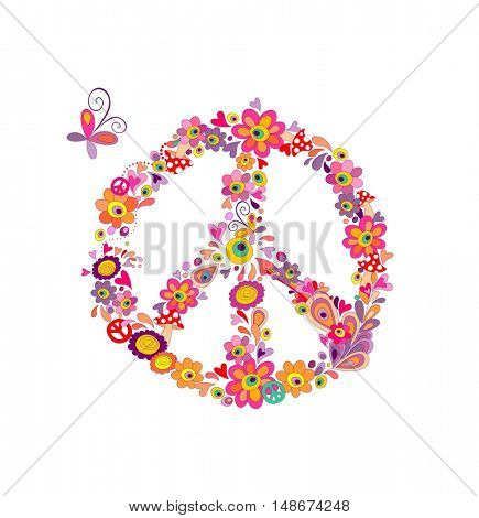 Peace flower symbol with abstract colorful flowers, mushrooms and butterfly