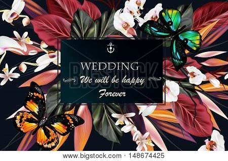 Beautiful vector save the date card on a tropical theme with orchid flowers butterflies leafs. We will be happy forever