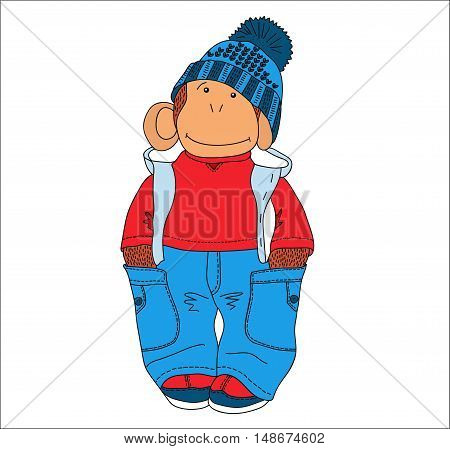 Vector illustration funny monkey pants and hat