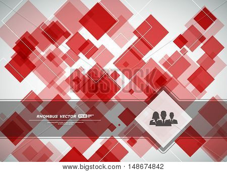 Abstract composition construction square block  box surface red crystal facet rhombus logo ruby texture business backdrop icon screen saver EPS 10 vector
