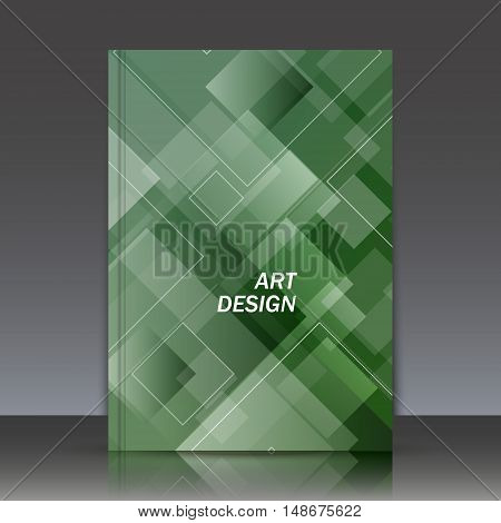 Abstract composition a4 brochure title sheet crystal facet icon business card image rhombus logo texture green emerald construction firm sign backdrop cosmic surface EPS 10 vector illustration