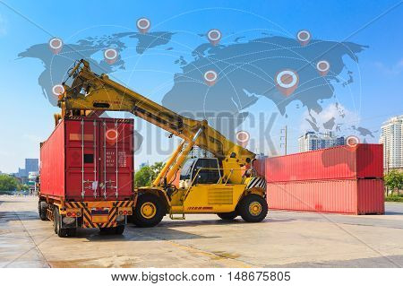 Cargo containers and folklift in shipping yard for importexport industrial