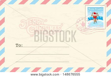 Merry Christmas And Happy New Year Postcard With Postage Stamp Santas Deer On Ice Rink In Funny Cart