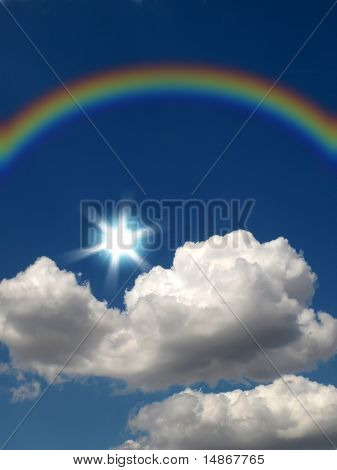 Rainbow, Sun And Cloud