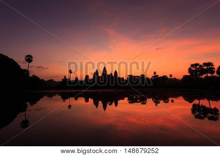 Angkor Wat in twilight,Status silhouette of Angkor Wat in sunrise, the best time in the morning at Angkor Wat, Siem Reap, Cambodia