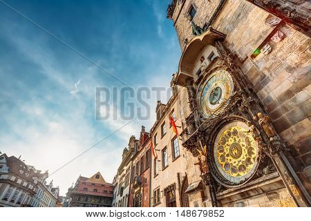 Tower Of Town Hall With Astronomical Clock - Orloj In Prague, Czech Republic