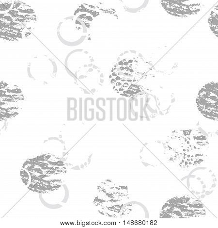 Black and white grunge abstract seamless pattern with circles rings different brush strokes and shapes. Infinity gray textured circles background. Vector illustration.