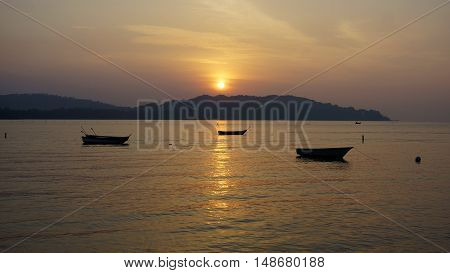 beautiful scenery at sunrise on the beach.