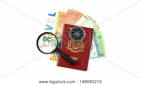 Close Up of Bank Notes With passport clock and compass Concept for travel
