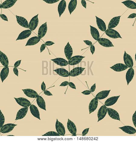 Floral seamless pattern with branches and leaves. Autumn leaf background can be used for wallpaper, pattern fills, web page background,surface textures. Vector illustration.