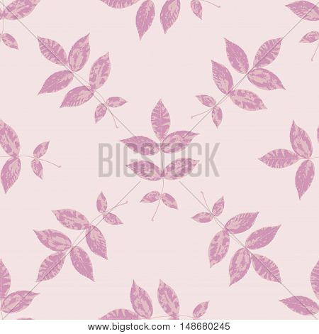Pastel floral seamless pattern with pink branches and leaves. Autumn leaf background can be used for wallpaper pattern fills web page backgroundsurface textures. Vector illustration.