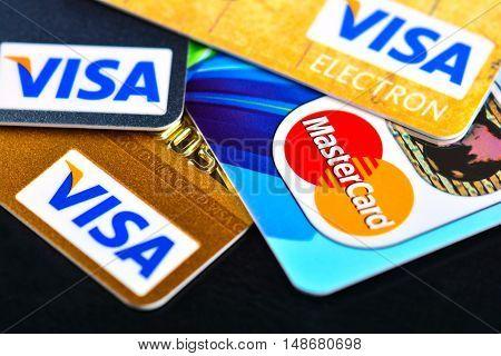 Tallinn, Estonia, 10.10.2015. Plastic credit card VISA, Mastercard.Selective focus