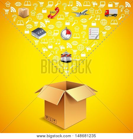Opened parcel box and many logistics icons falling into it vector