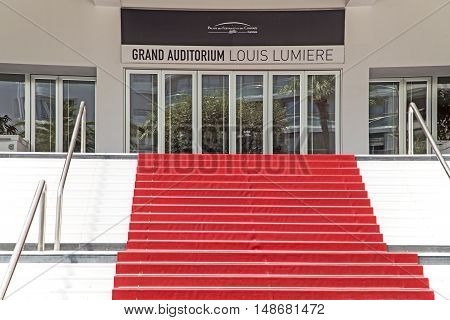Cannes France - July 05: Red carpet staircase of The Grand Auditorium on July 05.2015. in Cannes France