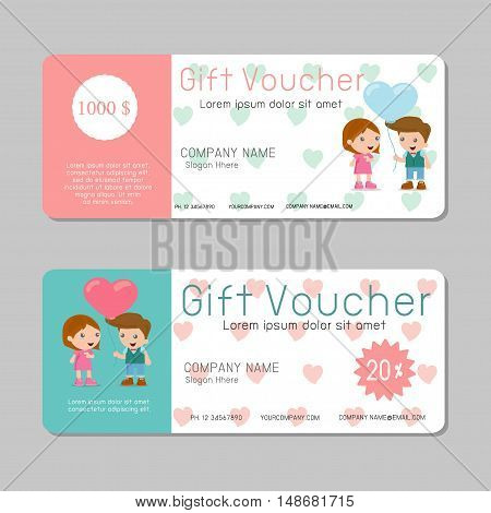 Gift voucher template and modern pattern. kids concept. Voucher template with premium pattern, gift Voucher template with colorful pattern. bright concept. Vector illustration