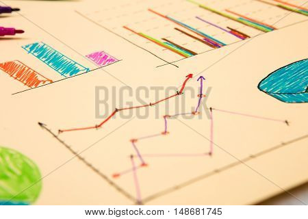 Financial Graphs Drawn With Colored Pens
