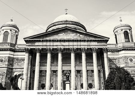 Frontage of beautiful basilica in Esztergom Hungary. Cultural heritage. Travel destination. Largest building. Black and white photo. Place of worship. Religious architecture.
