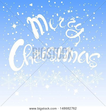 White lettering Merry Christmas on blue sky background, white snow-flakes, vector illustration
