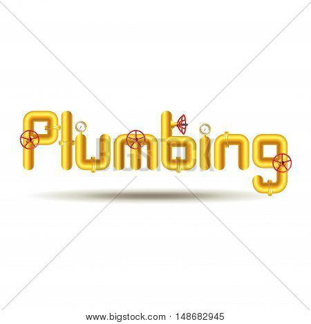 Word plumbing from yellow pipes isolated on white background vector