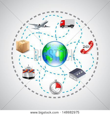 Logistics icons in sphere connected with dotted lines vector background