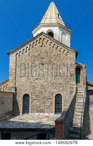 Old stone church in the medieval Italian village of Corniglia. Cinque Terre. Liguria.