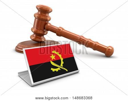 3D Illustration. 3d wooden mallet and Angola flag. Image with clipping path
