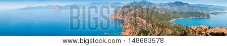 Corsica. Super Wide Panoramic Coastal Landscape