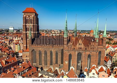 The view from above on St. Mary's Cathedral in Gdansk Poland.